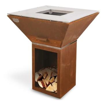 Barbecue bois COLORADO acier Corten CLEMENTI